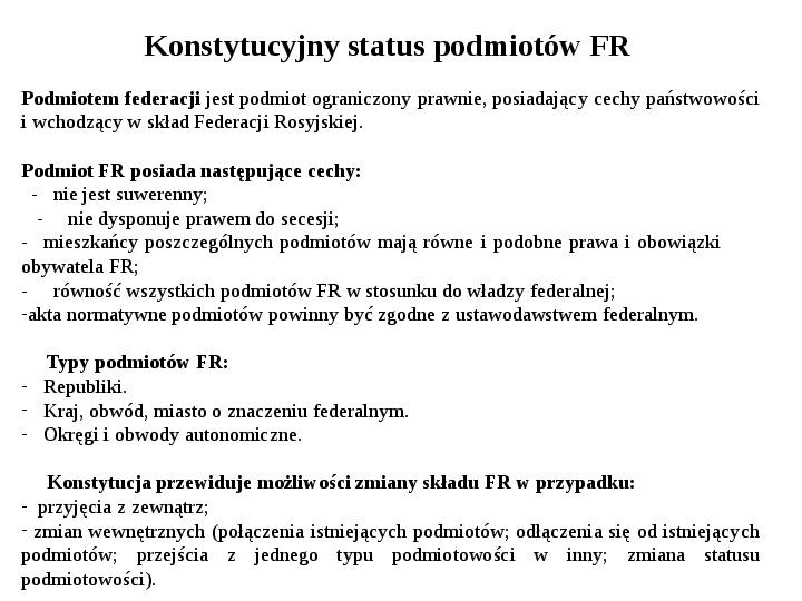 Ustrój polityczny Federacji Rosyjskiej - Slajd 3