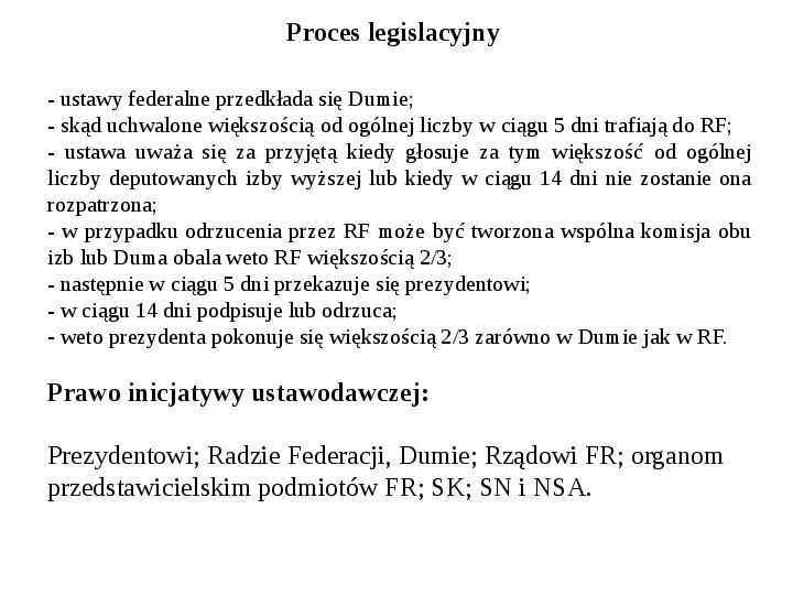 Ustrój polityczny Federacji Rosyjskiej - Slajd 23