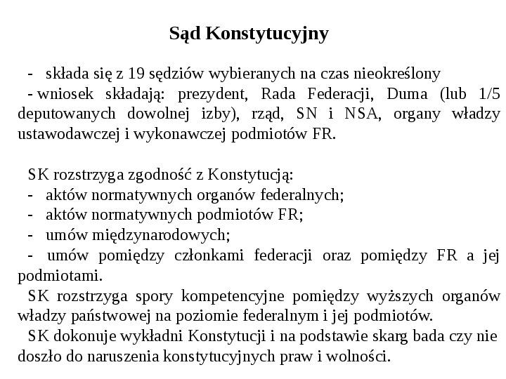 Ustrój polityczny Federacji Rosyjskiej - Slajd 33