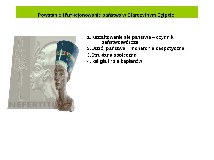 Powstanie i funkcjonowanie państwa w Starożytnym Egipcie - Slajd 1