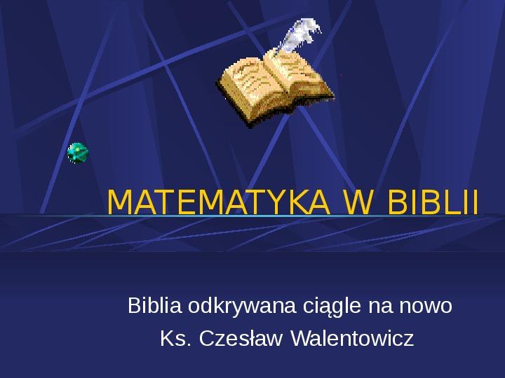 Matematyka w Biblii - Slajd 1