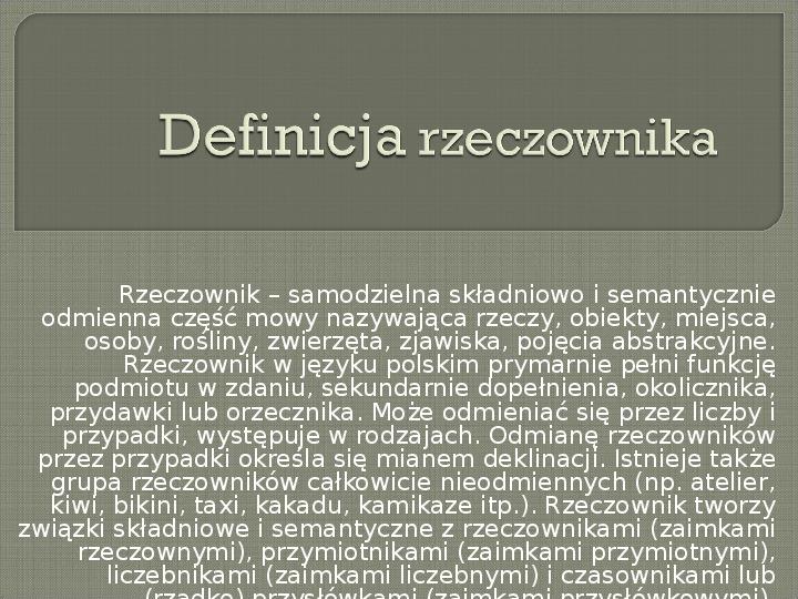 Definicja rzeczownika - Slajd 1