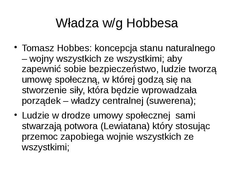 Władza według Hobbesa - Slajd 1