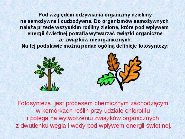 Fotosynteza jako przykład anabolizmu organizmów samożywnych - Slajd 1