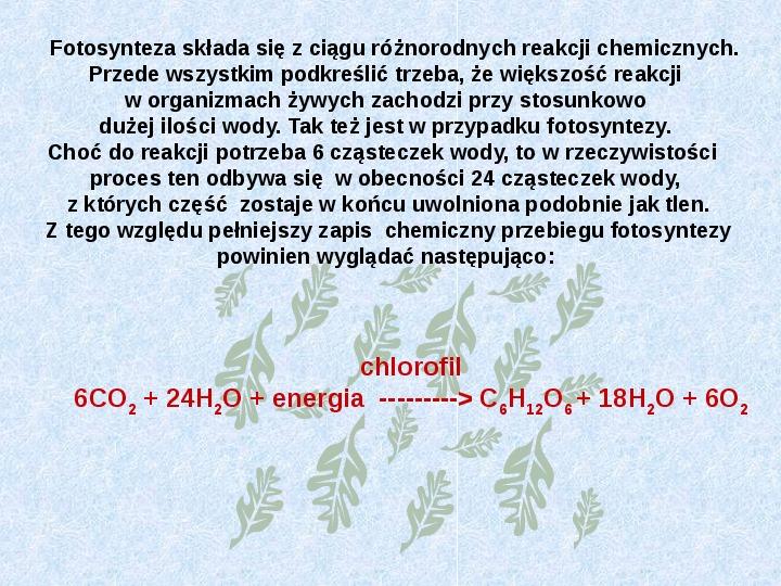 Fotosynteza jako przykład anabolizmu organizmów samożywnych - Slajd 3