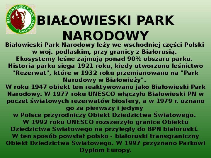 Parki narodowe w Polsce - Slajd 4