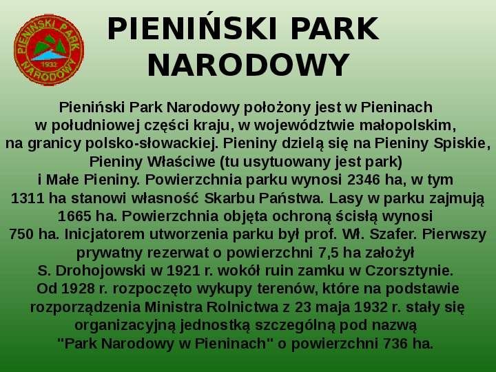 Parki narodowe w Polsce - Slajd 7