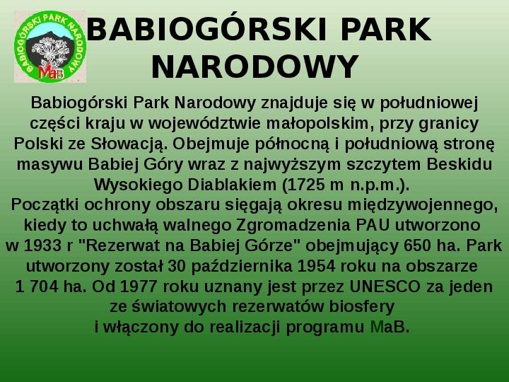 Parki narodowe w Polsce - Slajd 13
