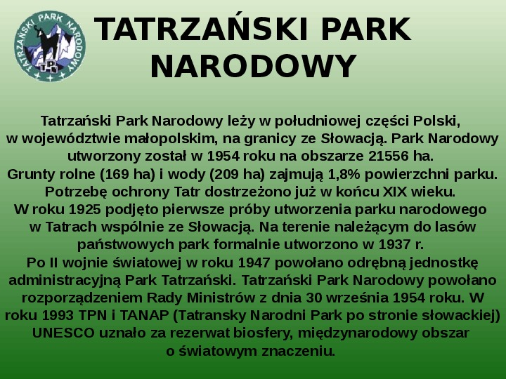 Parki narodowe w Polsce - Slajd 15