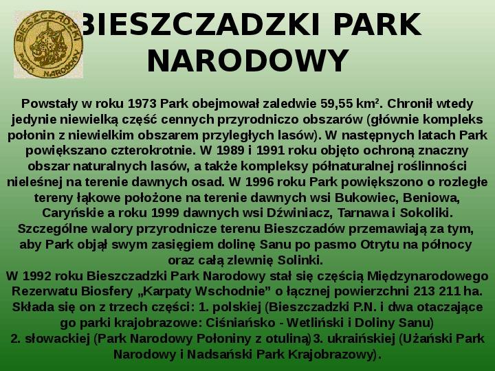 Parki narodowe w Polsce - Slajd 31
