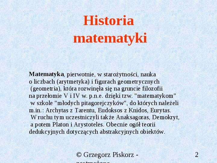 Matematyka starożytna - Slajd 1