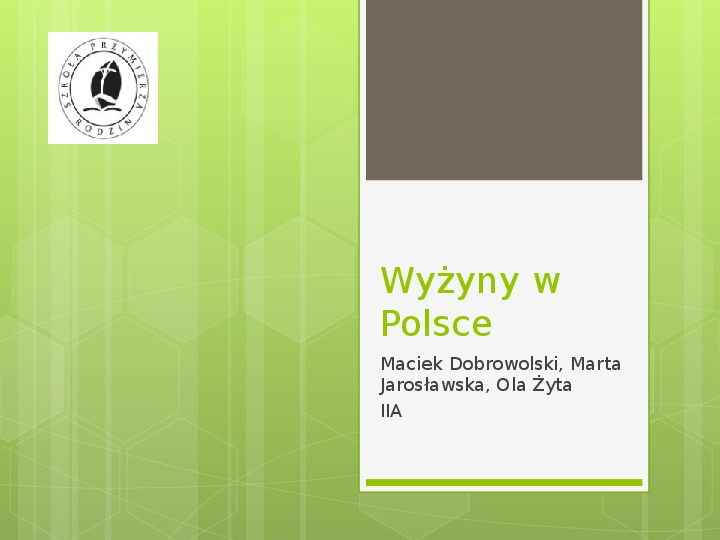 Wyżyny w Polsce - Slajd 1