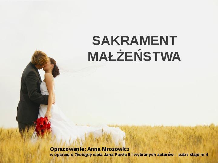 Sakrament małżeństwa - Slajd 1