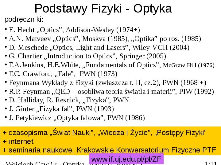 Podstawy Fizyki - Optyka - Slajd 1