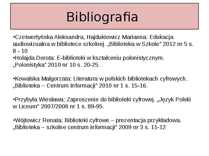 Biblioteka cyfrowa - Slajd 32
