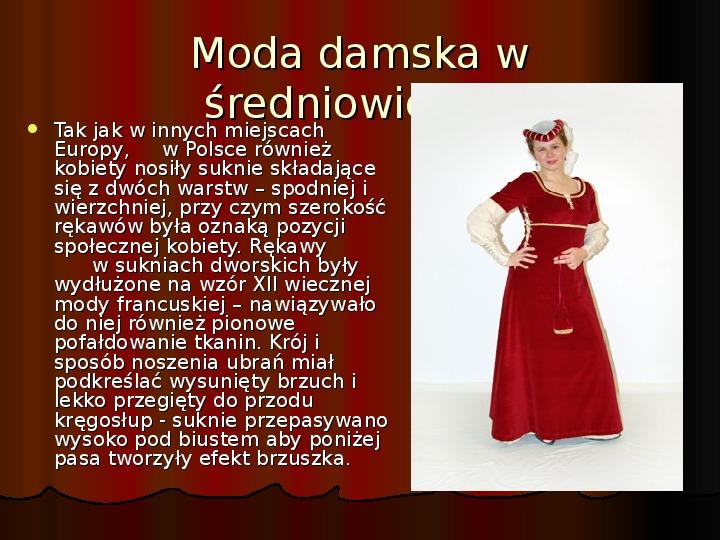 Moda damska w średniowieczu - Slajd 1