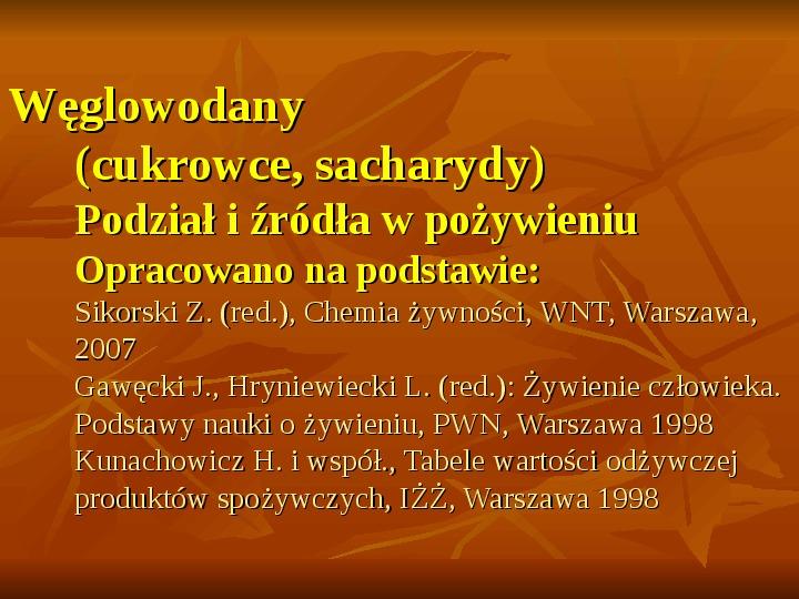 Węglowodany - Slajd 1