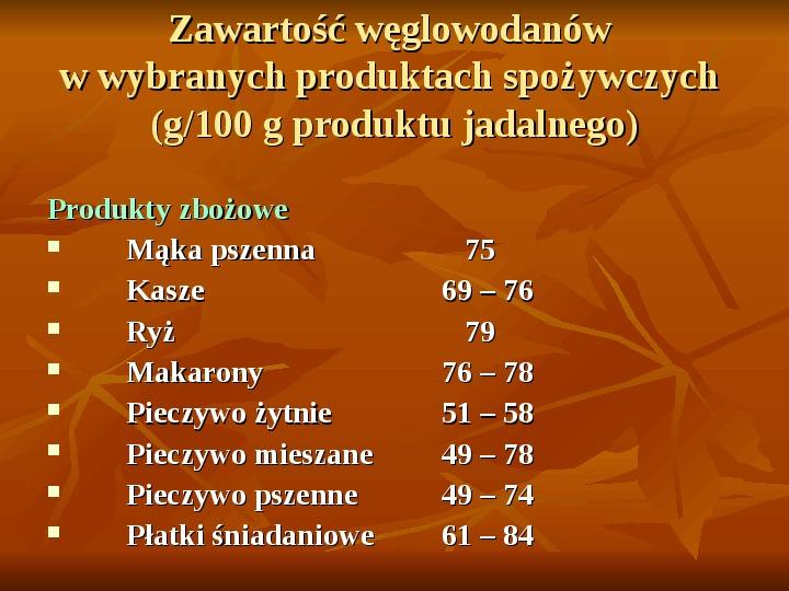 Węglowodany - Slajd 9