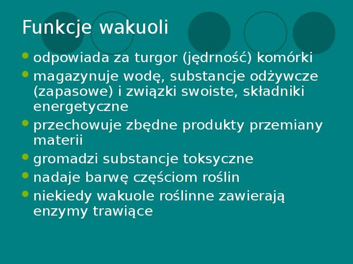 Wakuola - jej budowa i funkcje - Slajd 20
