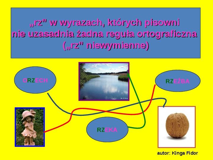 """Zasady pisowni wyrazów z """"rz"""" i """"ż"""" - Slajd 5"""