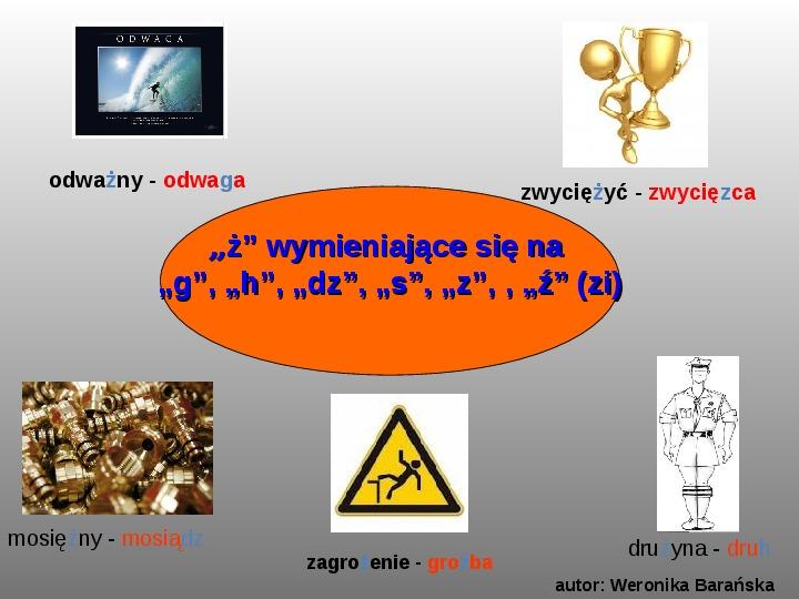 """Zasady pisowni wyrazów z """"rz"""" i """"ż"""" - Slajd 7"""