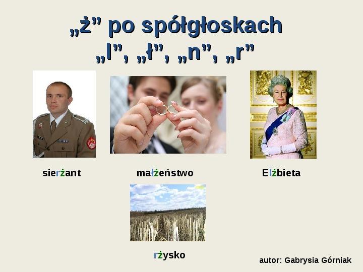 """Zasady pisowni wyrazów z """"rz"""" i """"ż"""" - Slajd 8"""