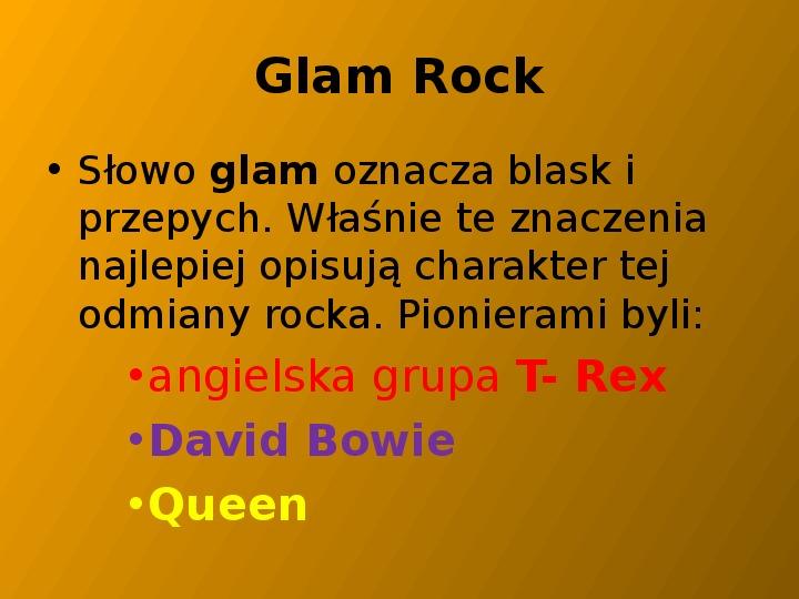 Rock i inne gatunki muzyki rozrywkowej - Slajd 18