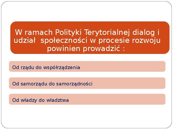 Polityka terytorialna jako instrument rozwoju województwa - Slajd 26