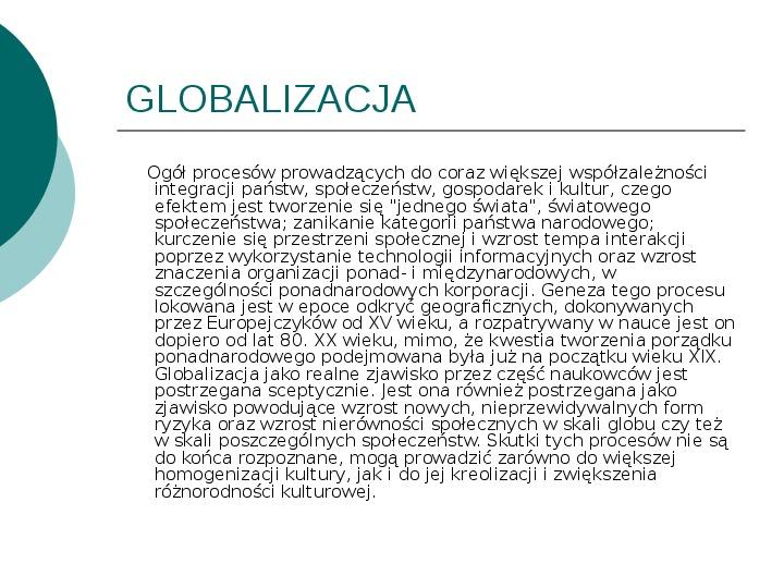 Globalizacja - Slajd 1