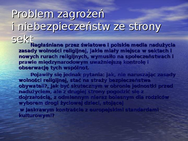 Sekty i ruchy religijne w Polsce współczesnej - Slajd 11