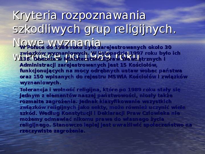 Sekty i ruchy religijne w Polsce współczesnej - Slajd 14