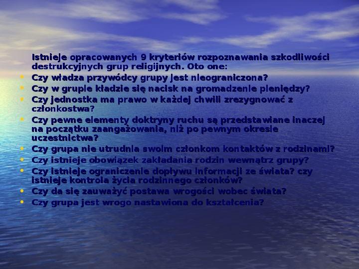 Sekty i ruchy religijne w Polsce współczesnej - Slajd 15