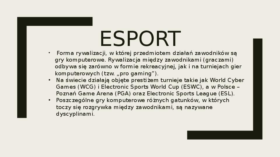 Esport - Slajd 1