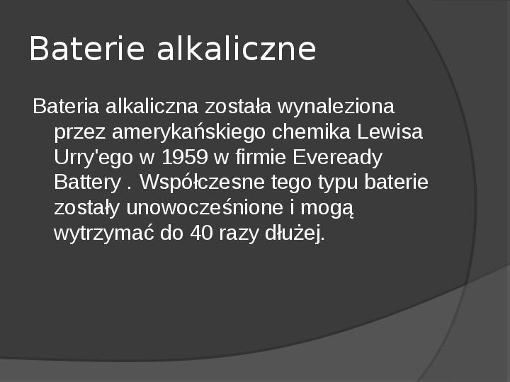 Chemiczne źródła prądu - Slajd 16