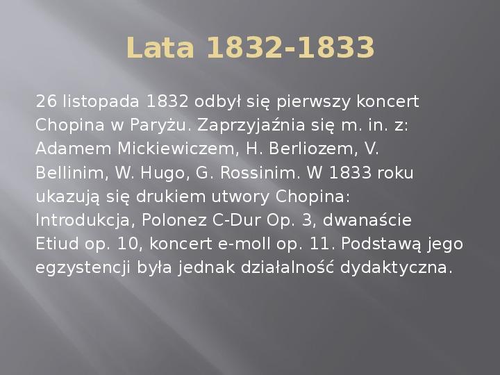 Fryderyk Chopin - kalendarium życia - Slajd 10
