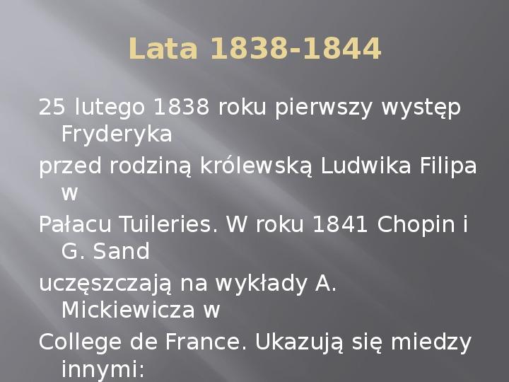 Fryderyk Chopin - kalendarium życia - Slajd 12
