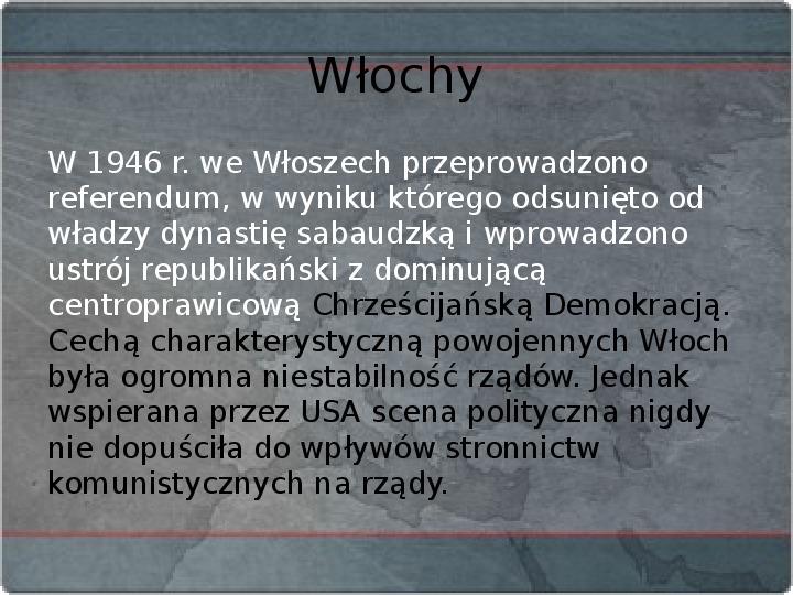Kraje Europy Zachodniej po II wojnie światowej - Slajd 9