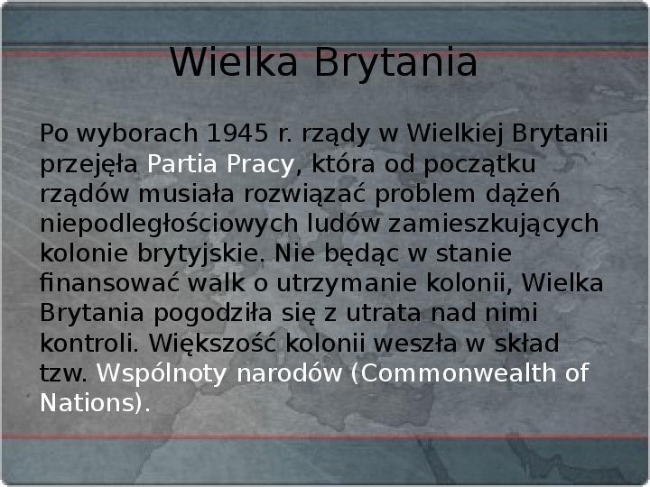 Kraje Europy Zachodniej po II wojnie światowej - Slajd 11