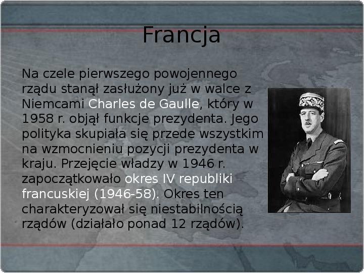 Kraje Europy Zachodniej po II wojnie światowej - Slajd 15