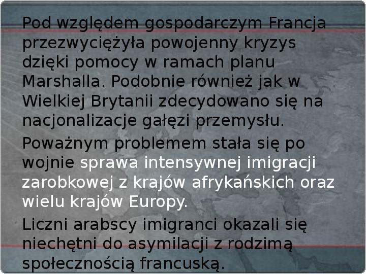 Kraje Europy Zachodniej po II wojnie światowej - Slajd 18