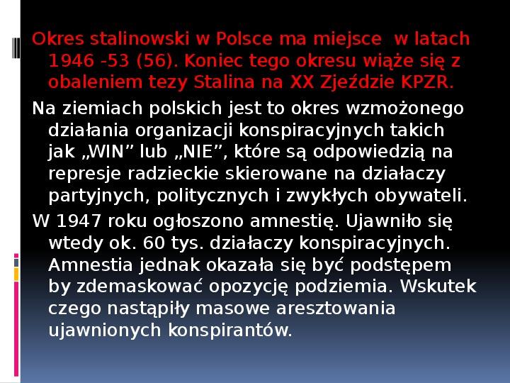 Okres stalinowski w Polsce - Slajd 1