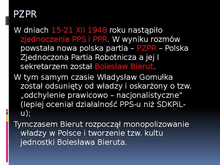 Okres stalinowski w Polsce - Slajd 3