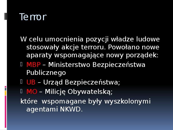 Okres stalinowski w Polsce - Slajd 7
