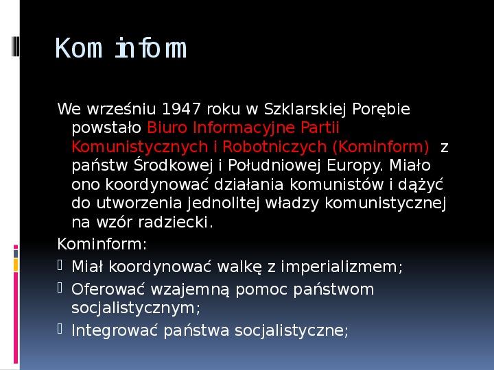 Okres stalinowski w Polsce - Slajd 8