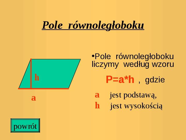 Pola trójkątów i czworokątów. Jednostki pola - Slajd 8