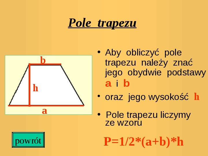 Pola trójkątów i czworokątów. Jednostki pola - Slajd 9