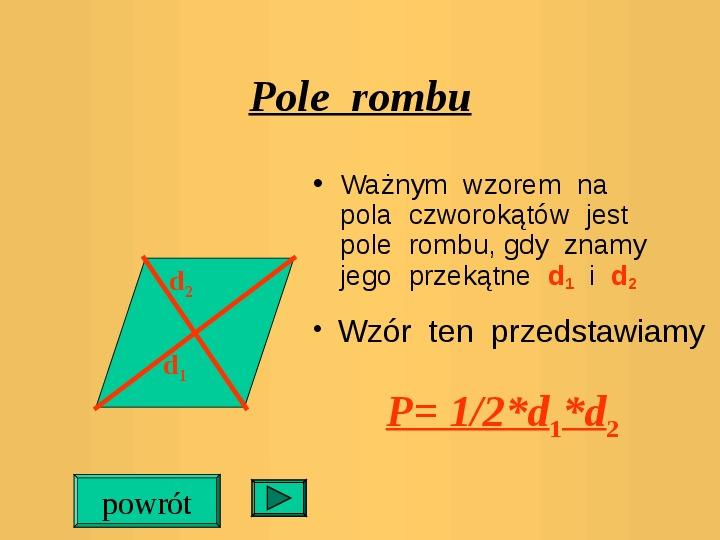 Pola trójkątów i czworokątów. Jednostki pola - Slajd 10