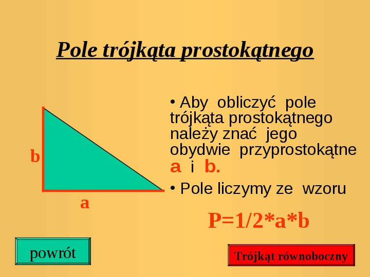 Pola trójkątów i czworokątów. Jednostki pola - Slajd 12