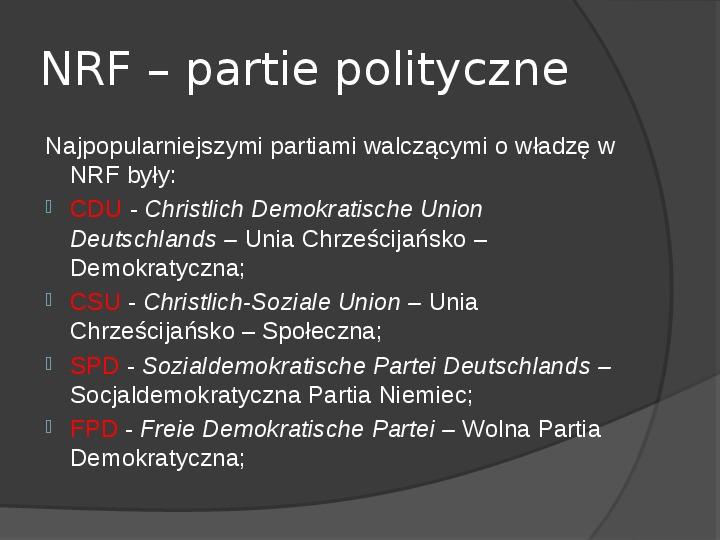 Powstanie dwóch państw niemieckich - NRD i NRF - Slajd 12