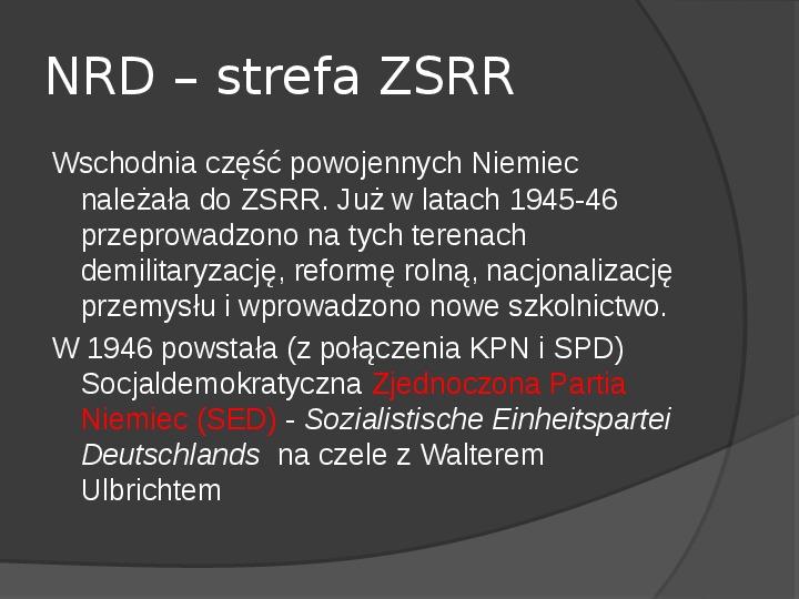 Powstanie dwóch państw niemieckich - NRD i NRF - Slajd 15